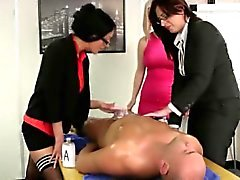 Euro CFNM office babes tug his cock