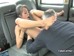 Black stockings slut fucks in taxi