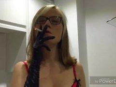 Amateur blonde smoking