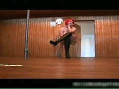 Chubby redhead babe gets bound