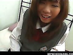 Jap teen slowly undressed of school uniform enjoys foreplay