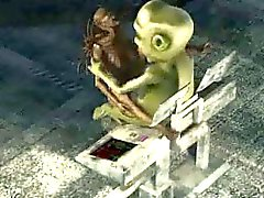 3D alien babe getting fucked hard by a monster