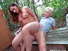 Chubby chick with nice tits takes ride on hard white penis
