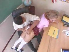 schoolgirl with pigtails having coitus