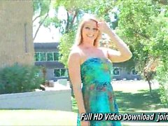 Veronica Gorgeous Adult In A Cute Blue Summer Dress