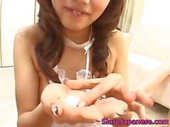 Maid Aki Anzai sucks a big dick dry part1