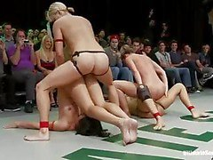 To sexy nude wrestling bitches get fucked with big long strap-ons