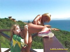 Latin lesbians licking pussy and sharing big