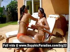 Cute busty brunette lesbos kissing and having lesbo sex by the pool