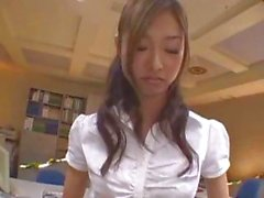 Cute Japanese girl takes care of her boss with mouth and pussy at work