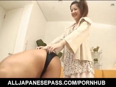 Sexy Asian Rina Koizumi exposes hairy twat for a vibrator