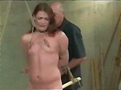 Clamped nipplar toyed Och Spanked