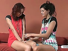 Lesbos Natasha and Mia sharing a double dildo