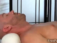 Kinky blonde masseur goes naughty with a hunky client
