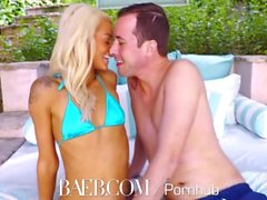 BAEB Pink pussy fucked by the pool with blonde babe Elsa Jean