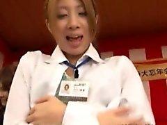 Nippon fligh attendants flashing their small tits