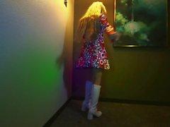 Blonde nerdy girl is dancing on DP.