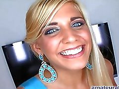 Deep Thoating Blonde Gags And Swallows Cum