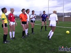 Hot honeys play soccer in the nude