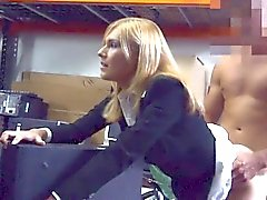 Hot blonde milf banged by nasty pawn guy in storage room