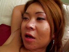 Shaved pussy Asian drilled by cock