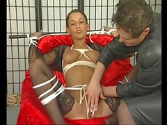 sexy skinny brunette gets tied up and pleased