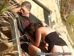 Brunette Sucks And Rides Cock On Public Beach