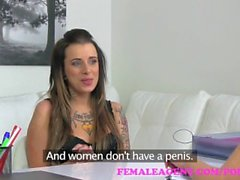 FemaleAgent. Tattooed beauty gets her first lesbian orgasm from a strap on