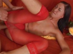 Brunette in nylons rammed in pussy