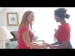 Hot interracial lesbian lovers Janet and Diamond munching muffs