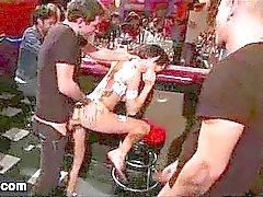 Big boobs babe Gia Di Marco gangbanged in bar