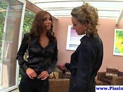 Goldenshower rich lesbians pussylicking