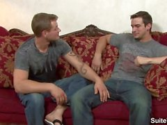 Sexual tattooed gays Phenix Saint and Trent Diesel slurp their pricks