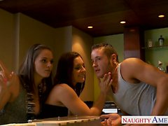 Rich cuties Gracie Glam and Tori Blake sharing a big cock