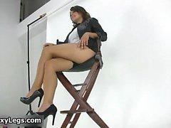 Hot brunette babe on high heels gets part1