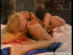 Classic pornstars go lesbian in dorm eating pussy