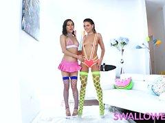 SWALLOWED Adriana Chechik and Kalina Ryu choke on a big cock