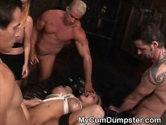 Blonde Slut Tied Up And Covered At Cum During Gangbang Party