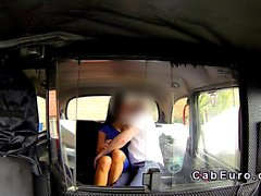 Pierced pussy Brit banged in fake taxi