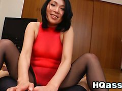Asian Beauty Wearing Pantyhose Sucks Cock