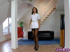 Euro stockings nurse cum
