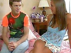 Kinky teen worships mature dick