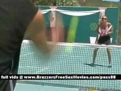 Mature blonde slut plays tennis