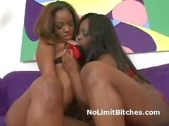 Lesbo black babe with huge tits eats sisters trimmed pussy