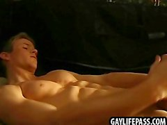 Horny guy has fun by himself in his tent at summer camp
