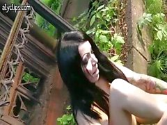 Gothic brunette having anal sex