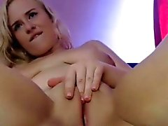 Russian blonde ridding dildo on a webcam