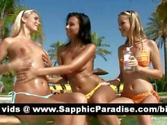 Sensual brunette and blonde lesbos licking and fingering pussies in a three way lesbo orgy