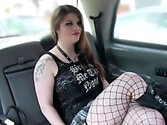 Busty hottie deep throat banged in cab