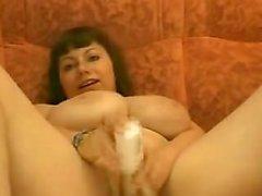 Mature sesso Grande petto Toying figa pelosa Crema di Orgasm
